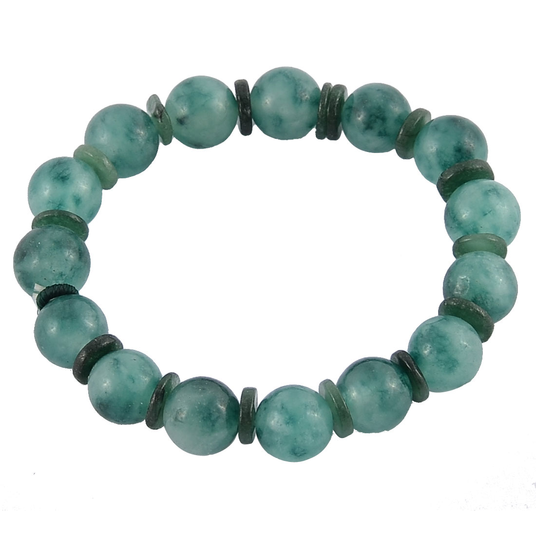 Faux Jade Elastic Round Beaded Wrist Decor Chain Bangle Bracelet Dark Green