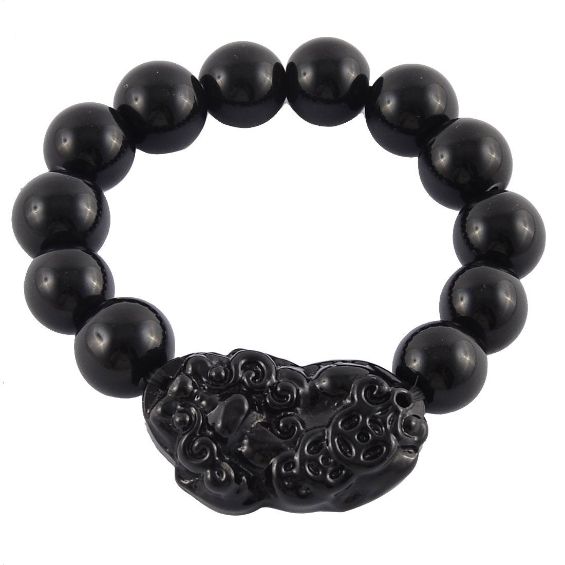 Chinese Lucky Animal Hikyuu Pendant Round Synthetic Bead Bracelet Black