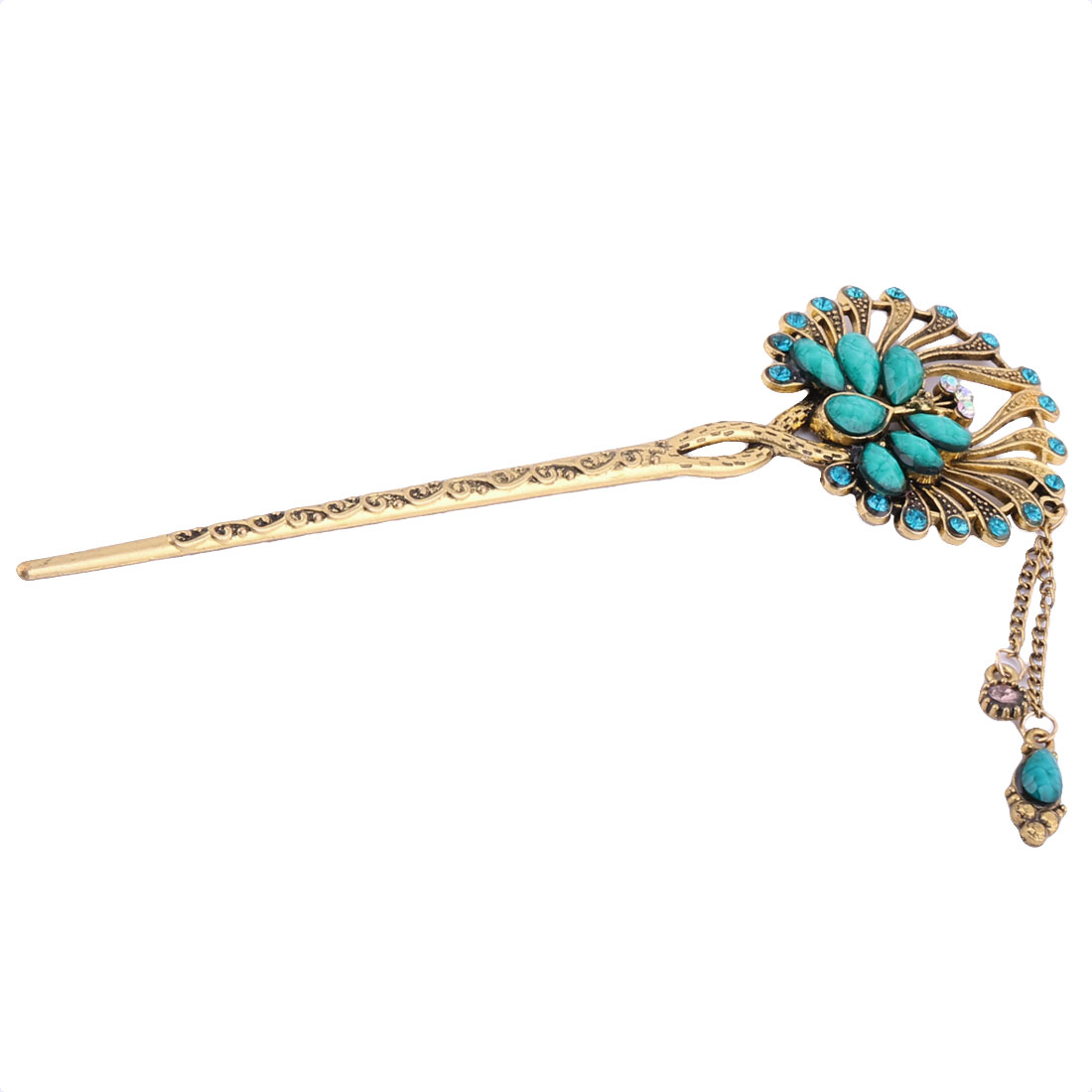 Studio Lady Retro Peacock Decor Tassel Artificial Rhinestones Hair Pin Green
