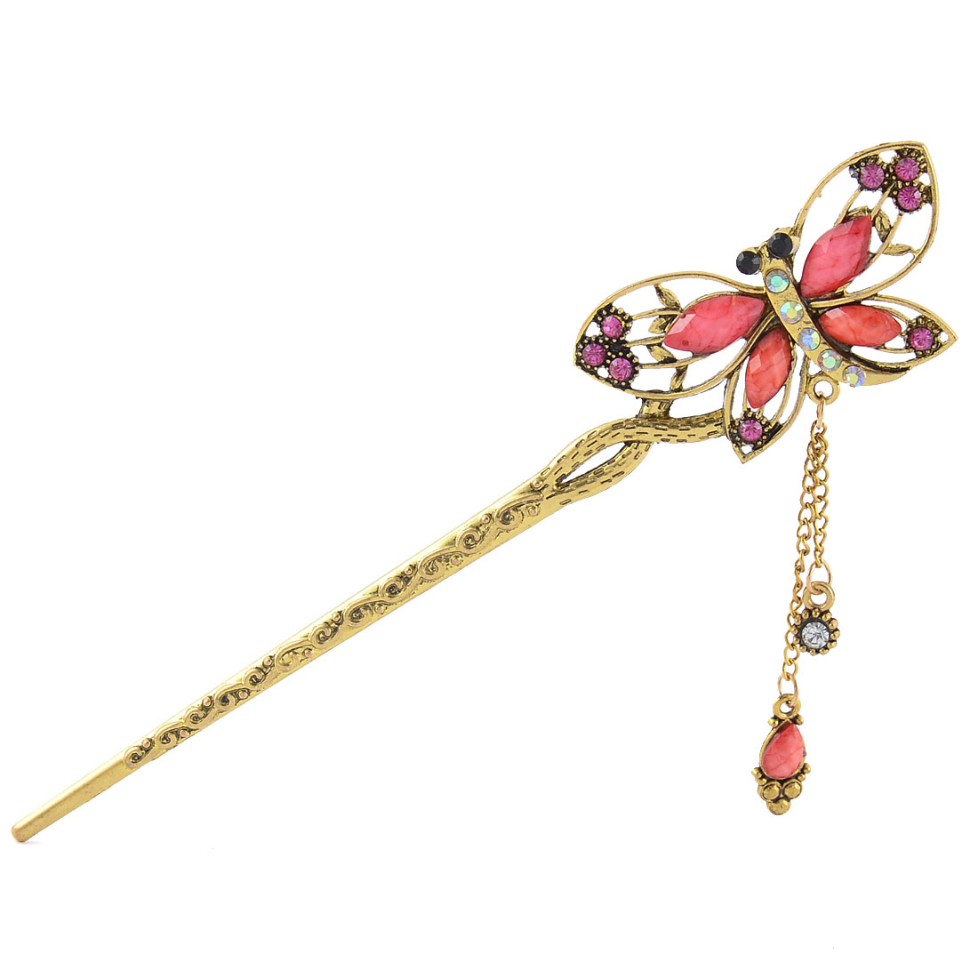Women Rhinestone Ornament Retro Butterfly Shape Tassels Hair Pin Clip Pink