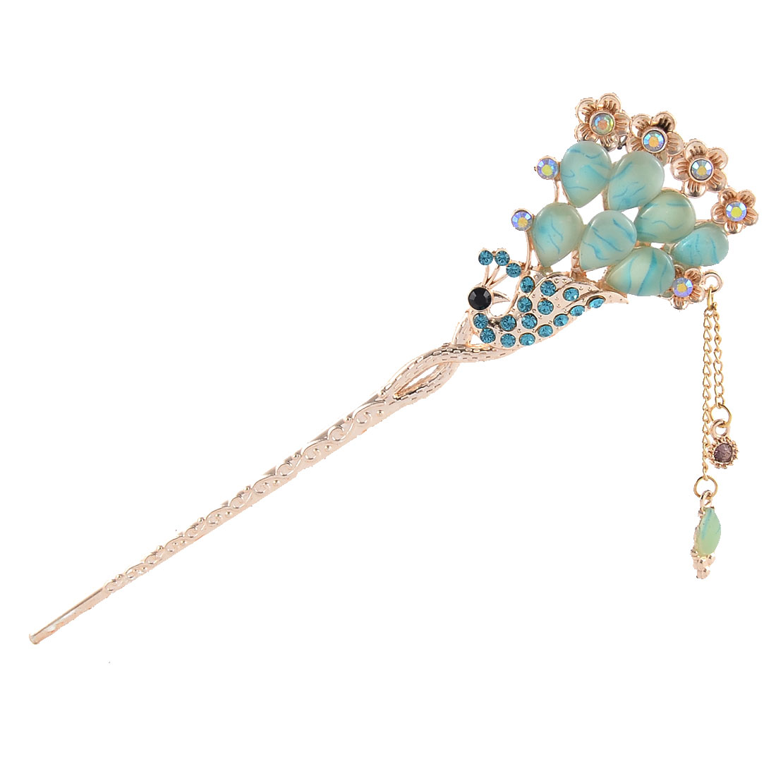 Rhinestone Phenix Shape Flower Decor Hairpin Dangle Tassel Hair Stick Light Blue