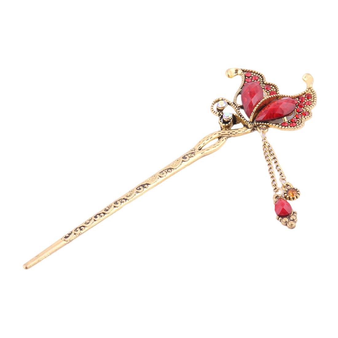 Women Faux Rhinestone Butterfly Shaped Design Retro Style Hairpin Hair Clasp Stick