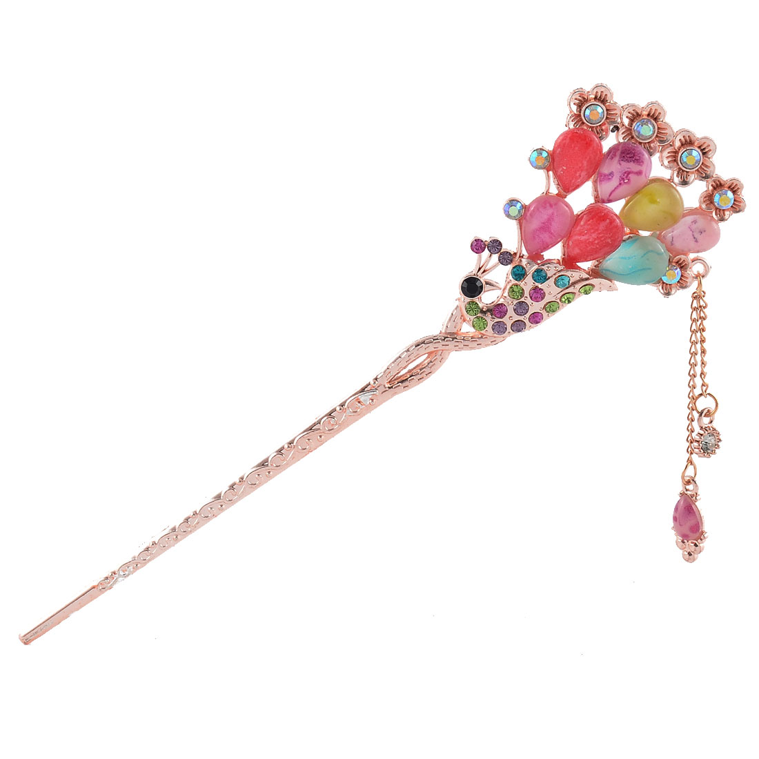Rhinestone Chinese Manmade Vintage Flower Peacock Shape Hair Stick