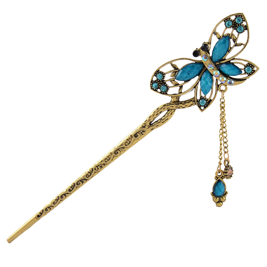 Women Rhinestone Retro Butterfly Shape Sculpture Carved Hair Pin Clip Blue