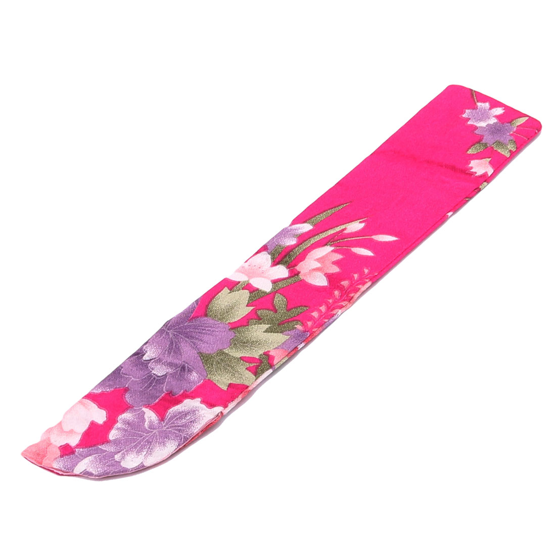 Fabric Flowers Pattern Summer Hand Folding Fan Pouch Sheath Cover Purple