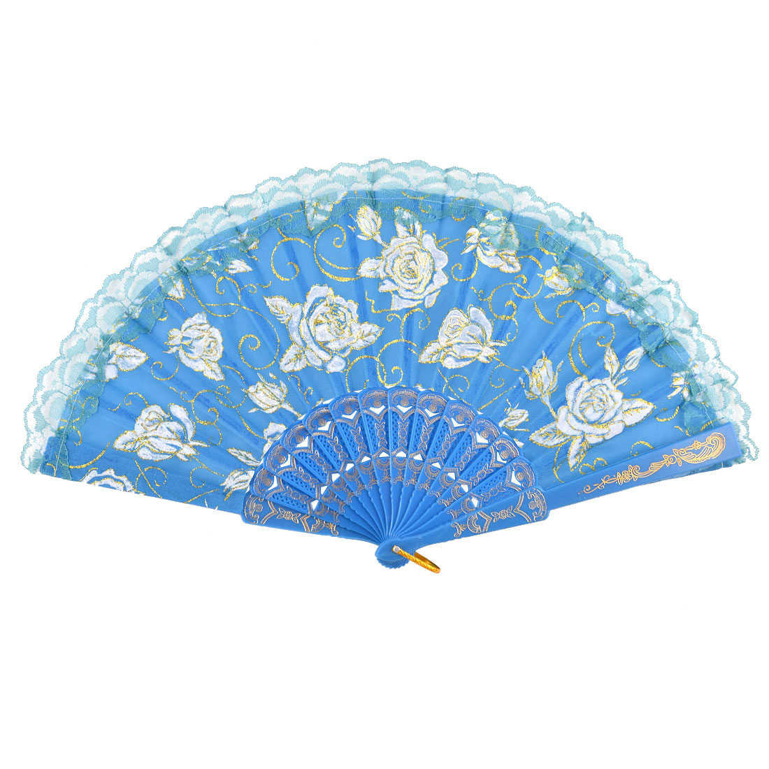Plastic Frame Fabric Embroidered Flower Pattern Ladies Folding Hand-crafted Fan