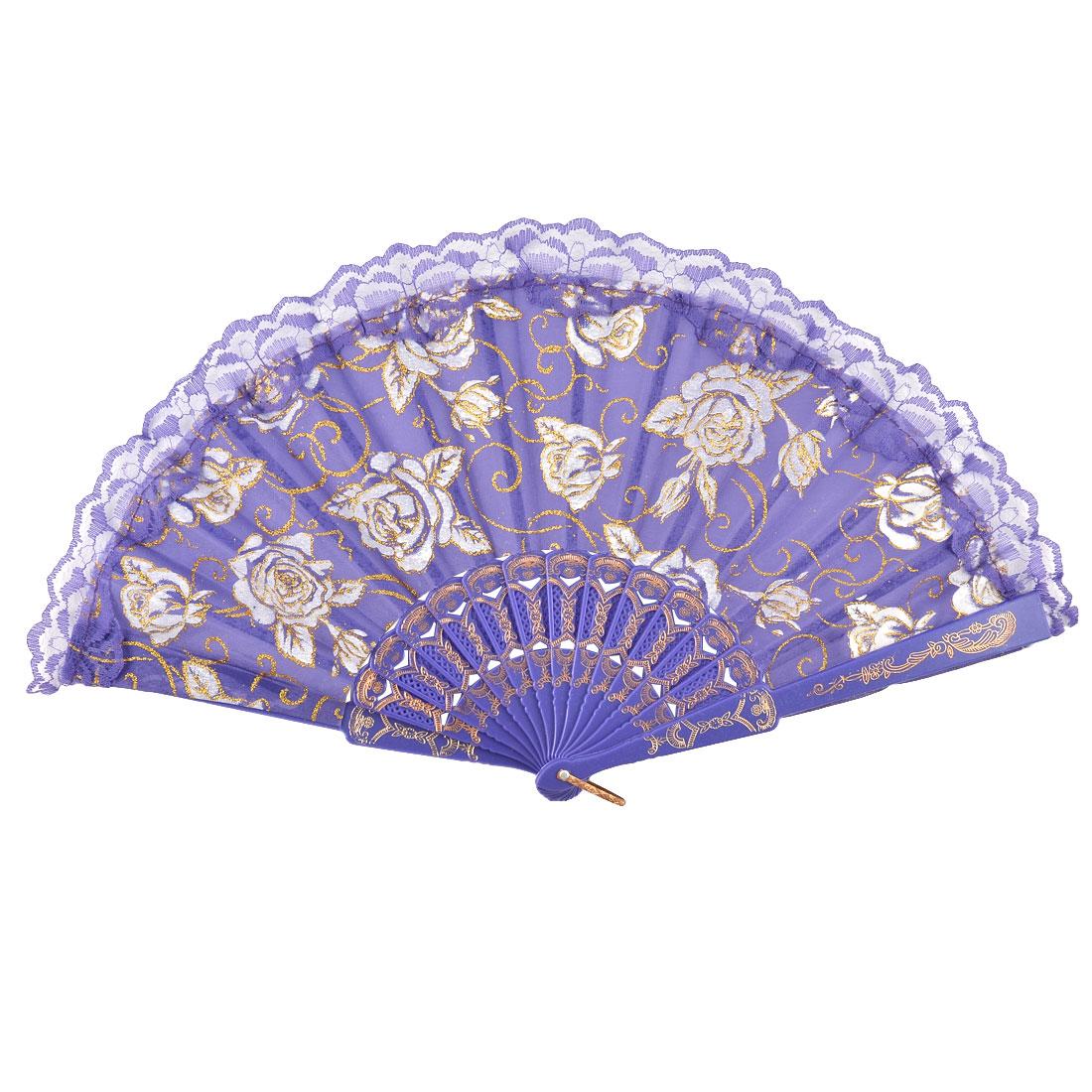 Wedding Dancing Party Chinese Rose Pattern Fabric Folding Hand Fan Purple