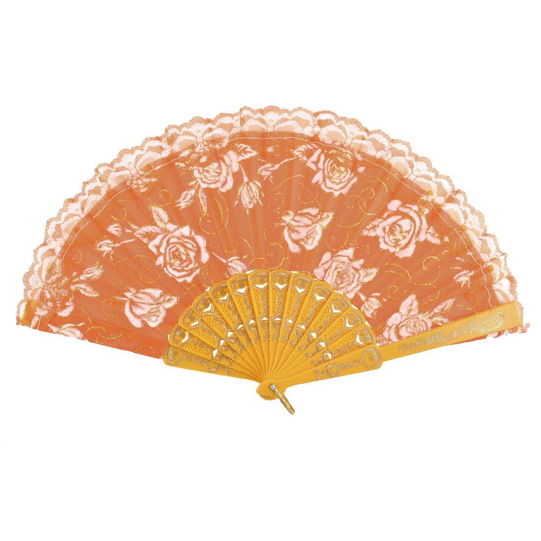 Plastic Frame Flower Pattern Folding Ladies Handheld Hand Fan Hand-crafted