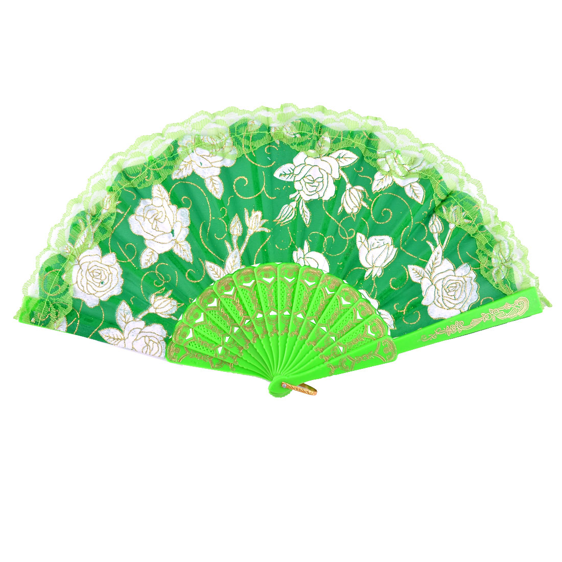 Plastic Rib Embroidered Flower Pattern Folding Handheld Hand-crafted Fan