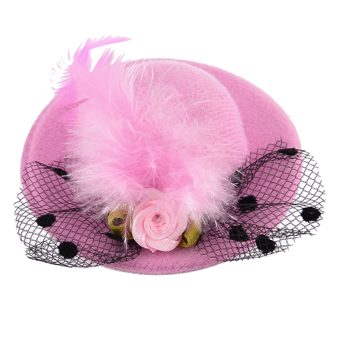 Dancing Party Women Mini Top Cocktail Faux Feather Floral Hat Hair Clip Pink