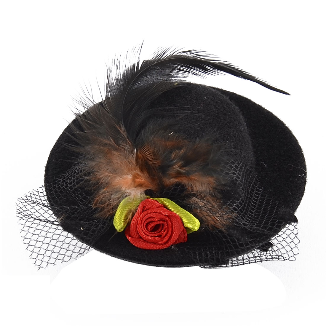 Feather Hat Shaped Mini Top Round Lace Flowers Alligator Hair Clip Black