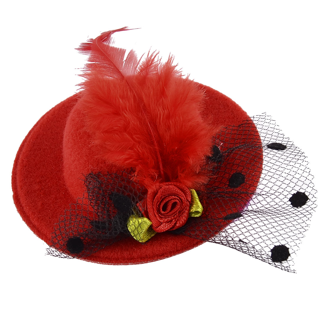 Dancing Party Women Mini Top Cocktail Faux Feather Floral Flower Hat Hair Clip Red