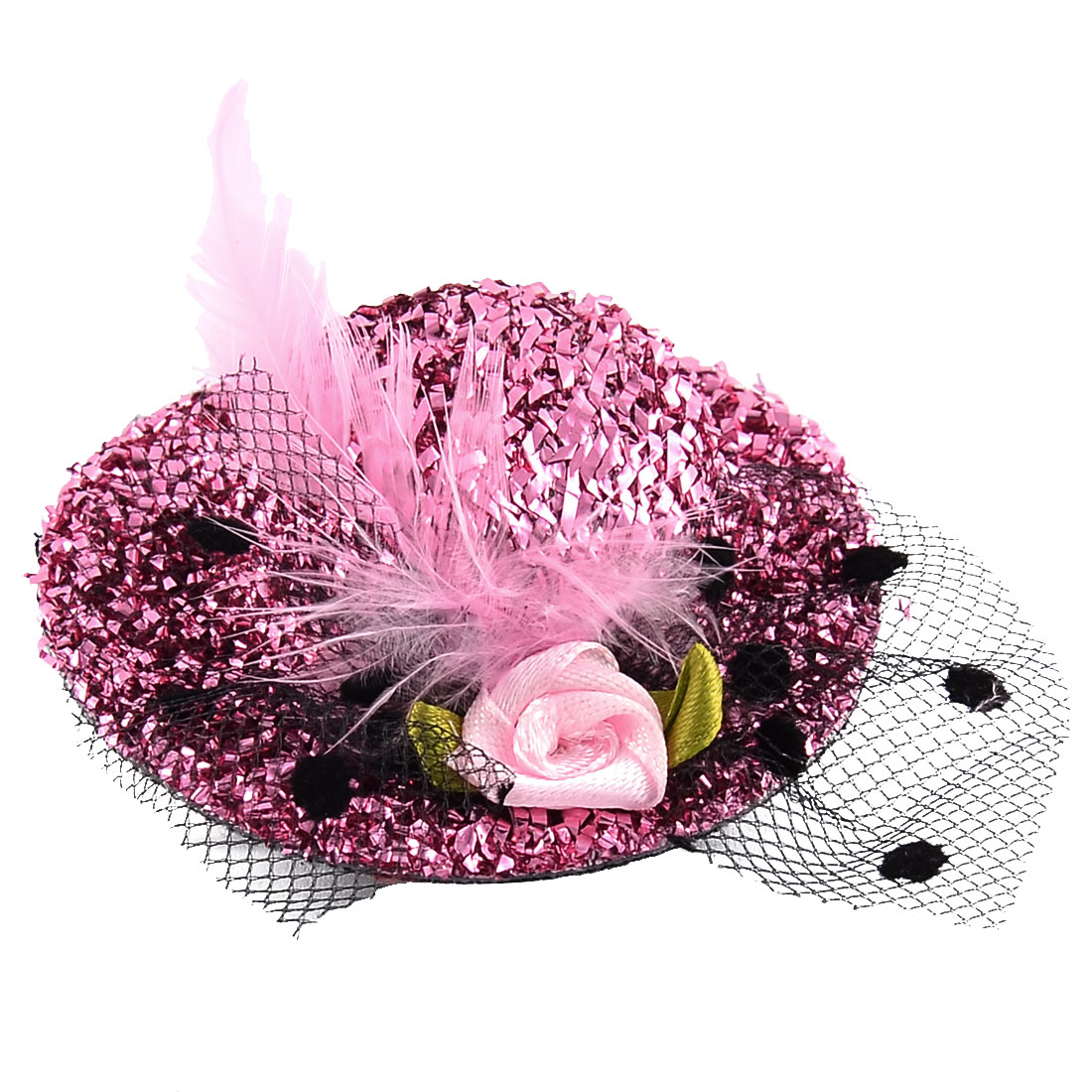 Feather Hat Flower Shape Decor Alligator Hair Clip Barrette Pink