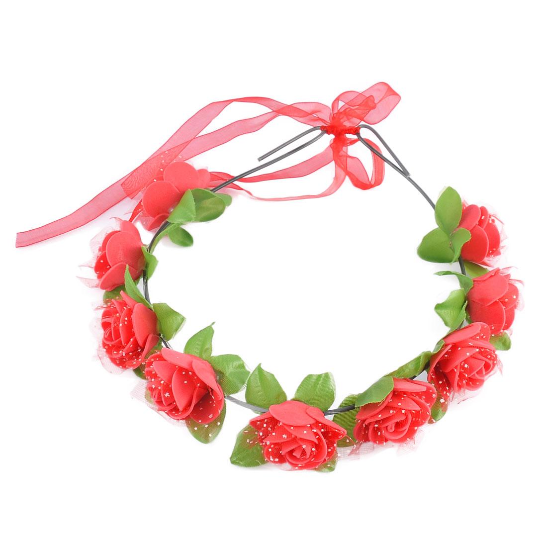 Women Handmade Rose Flowers Ribbon Festival Hair Bands Head Wreath Red