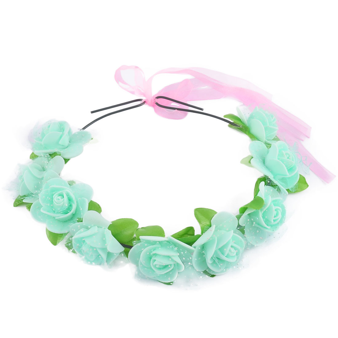 Women Handmade Flowers Ribbon Festival Hair Bands Head Wreath Green