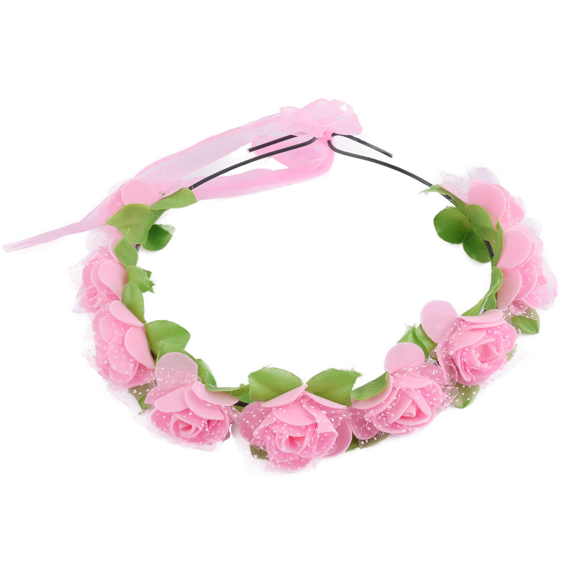 Women Handmade Rose Flowers Ribbon Festival Hair Bands Head Wreath Pink