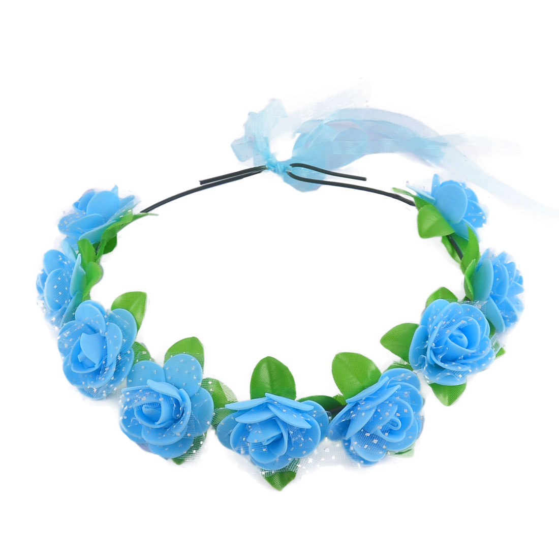 Women Handmade Rose Flowers Ribbon Festival Hair Bands Head Wreath Blue