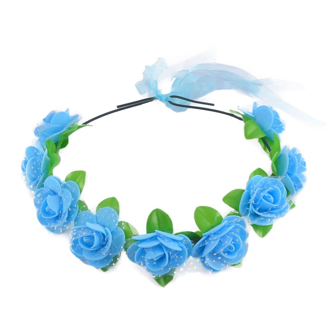Women Handmade Rose Flowers Ribbon Festival Hair Bands Head Wreath Blue