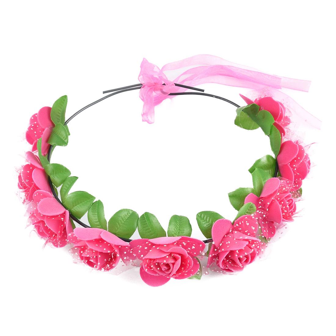 Women Handmade Rose Flowers Ribbon Hair Bands Head Wreath Fuchsia