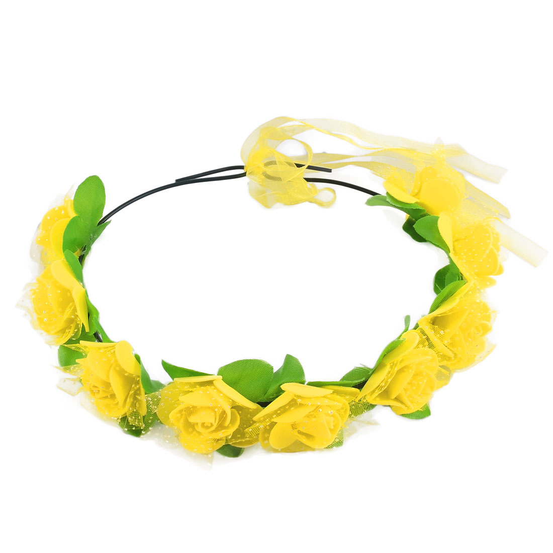 Women Artificial Rose Flowers Ribbon Hair Bands Head Wreath Yellow