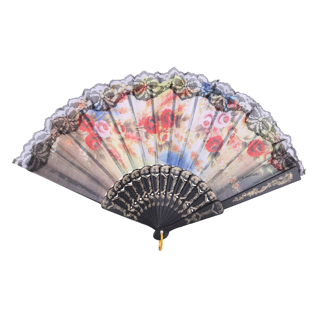 Lady Party Dance Polyester Flower Pattern Spanish Style Hanging Foldable Hand Fan