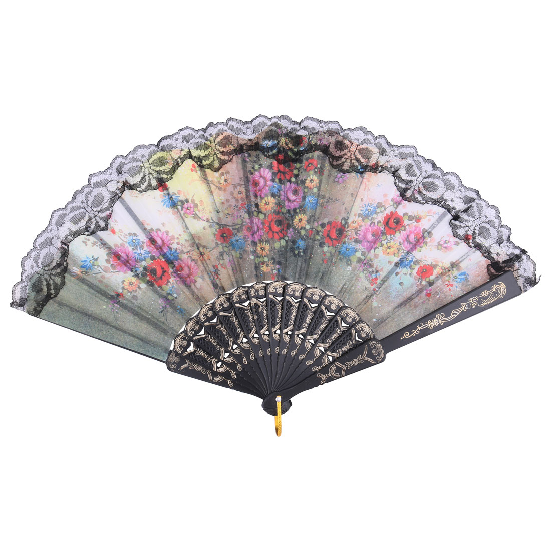 Lady Party Dance Polyester Flower Pattern Spanish Style Hanging Foldable Held Hand Fan