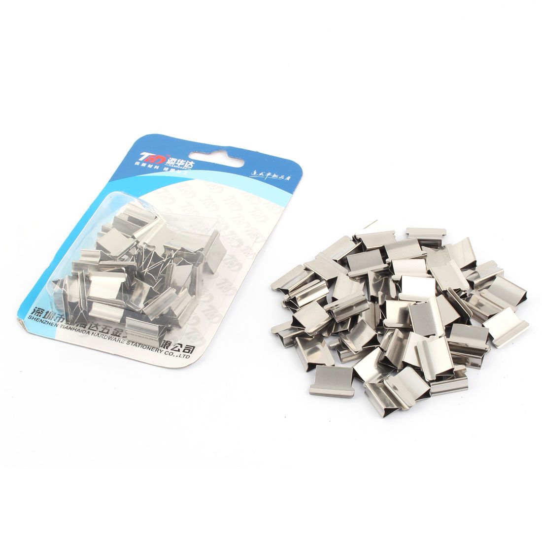 Metal Paper Fastener Clam Staple Dispenser Clips Silver Tone 100pcs