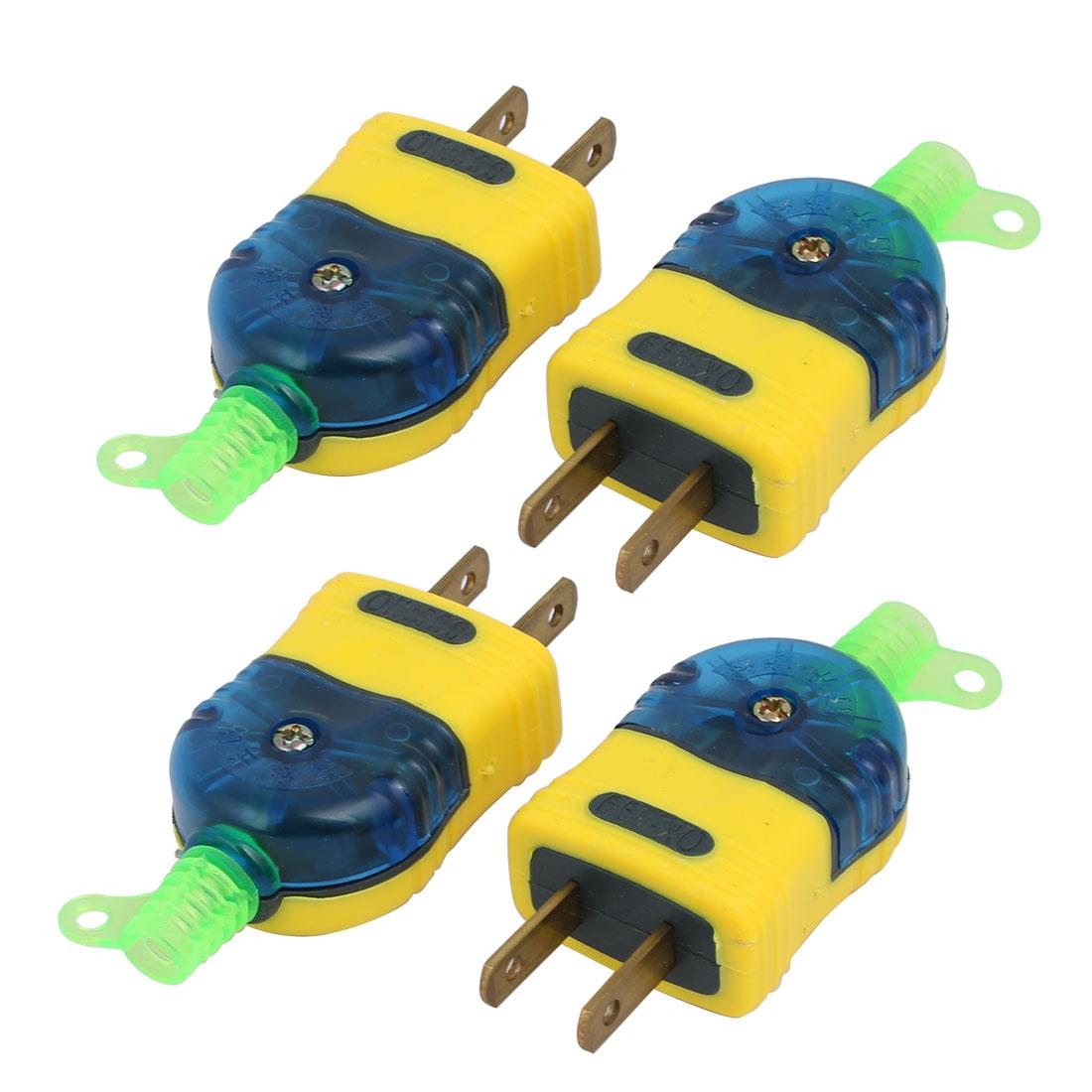 4pcs Blue Yellow Housing 2 Pin Power Adapter 250V 16A 400W US AU Plug