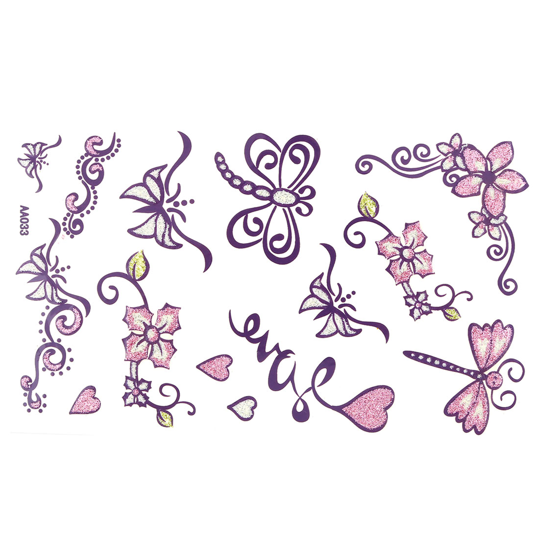 Lady Butterfly Dragonfly Print Removable Body Art Sticker Temporary Tattoo Sheet