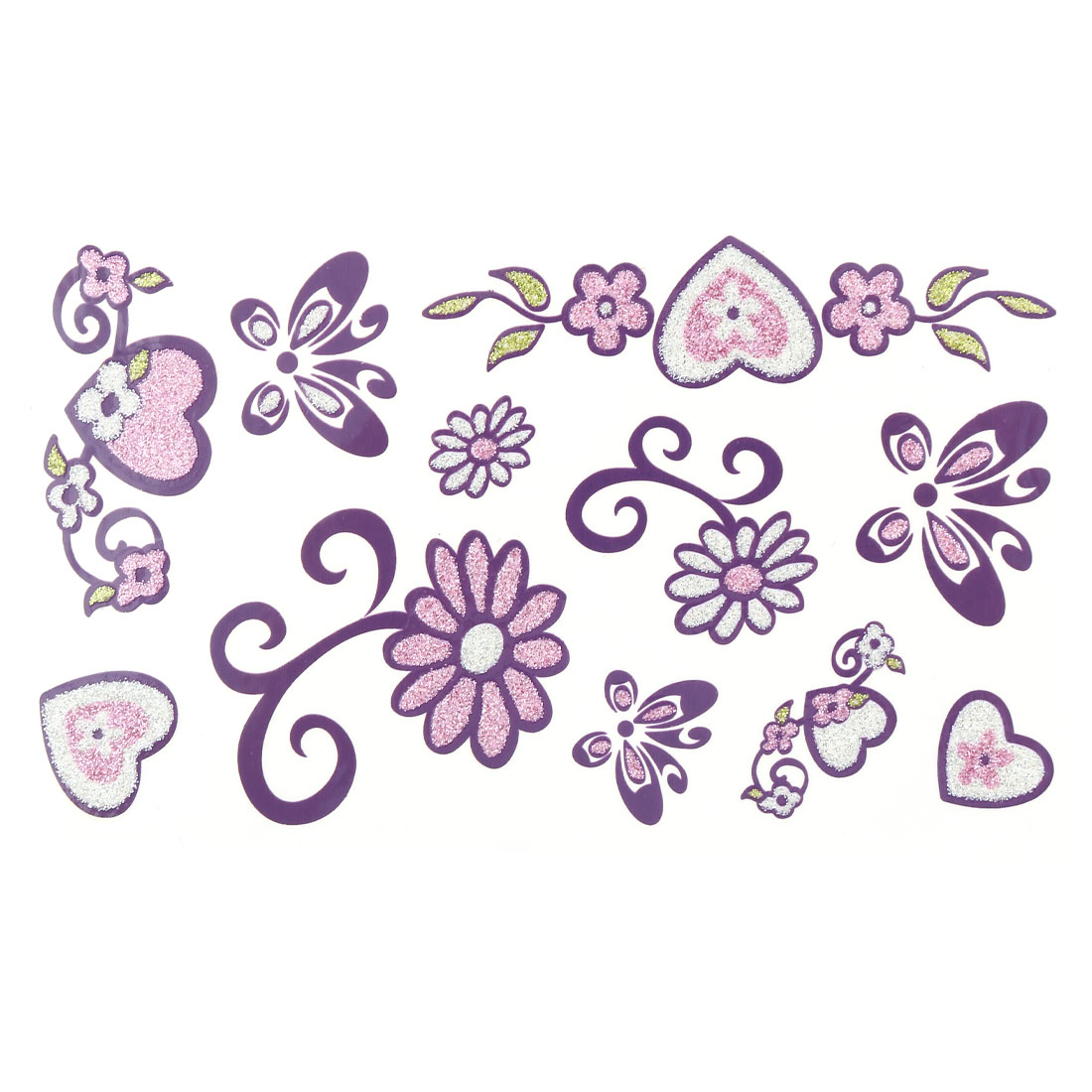 Women Flower Butterfly Heart Pattern Body Art Paper Sticker Temporary Tattoo Sheet