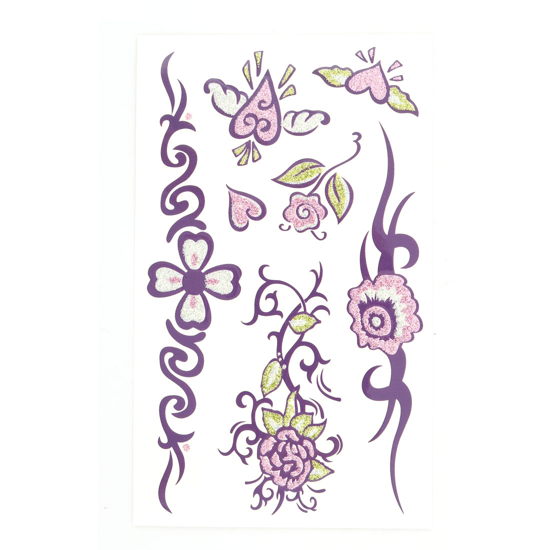 Lady Flower Vine Pattern Body Art Arm Paints Sticker Temporary Tattoo Sheet Multicolor