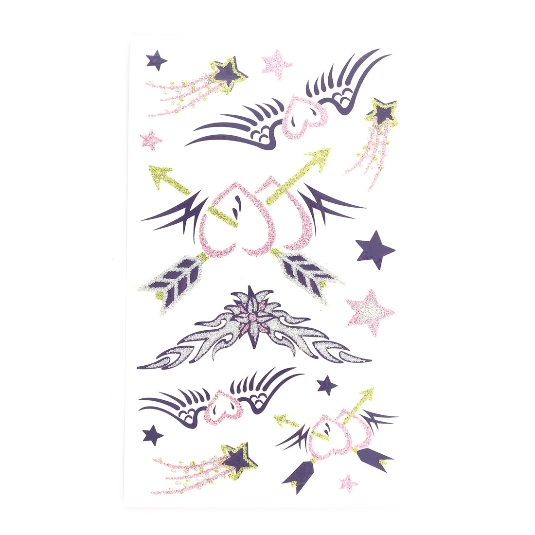 Lady Heart Star Pattern Body Art Arm Paints Sticker Decal Temporary Tattoo Sheet