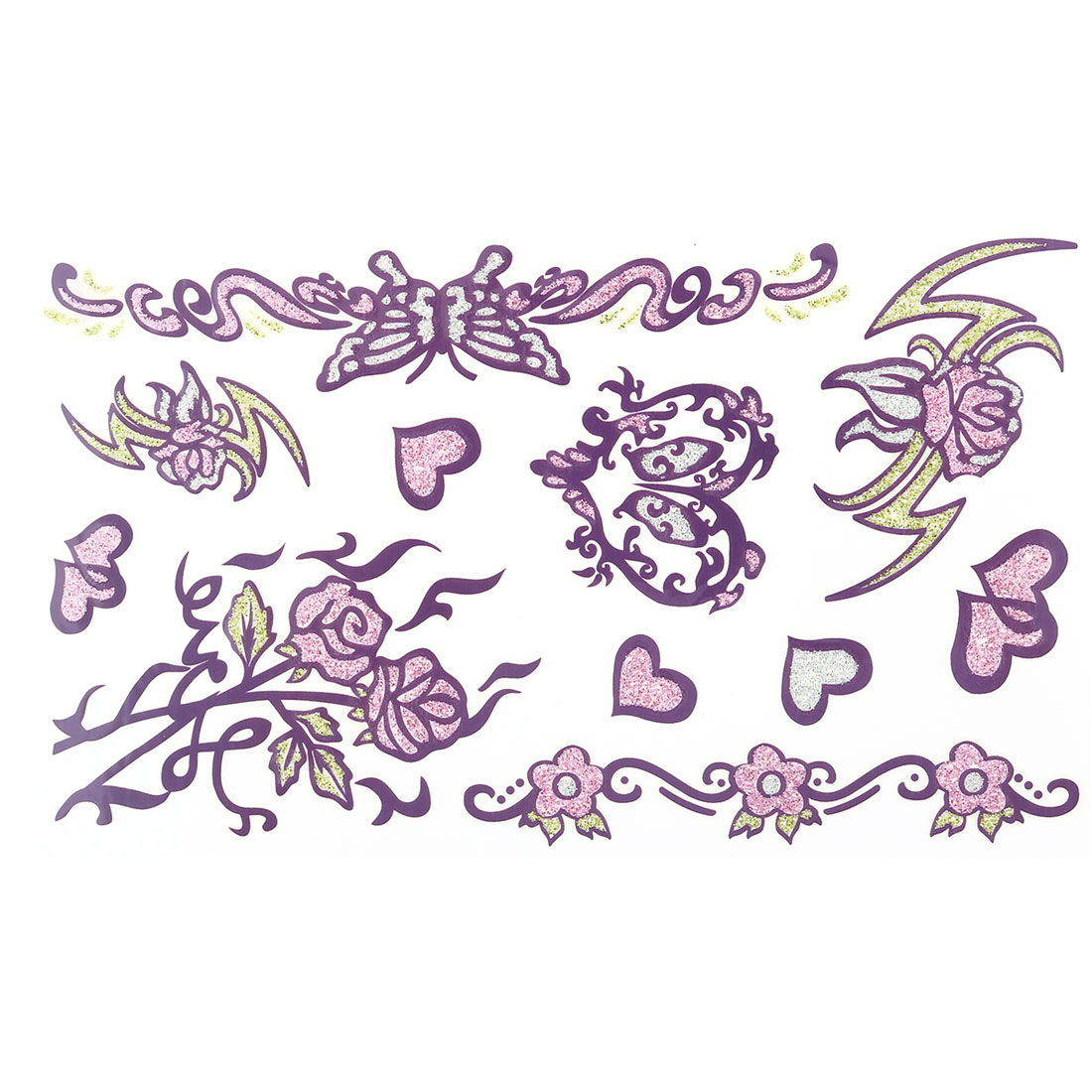 Lady Flower Butterfly Heart Print Removable Paper Sticker Decal Temporary Tattoo Sheet