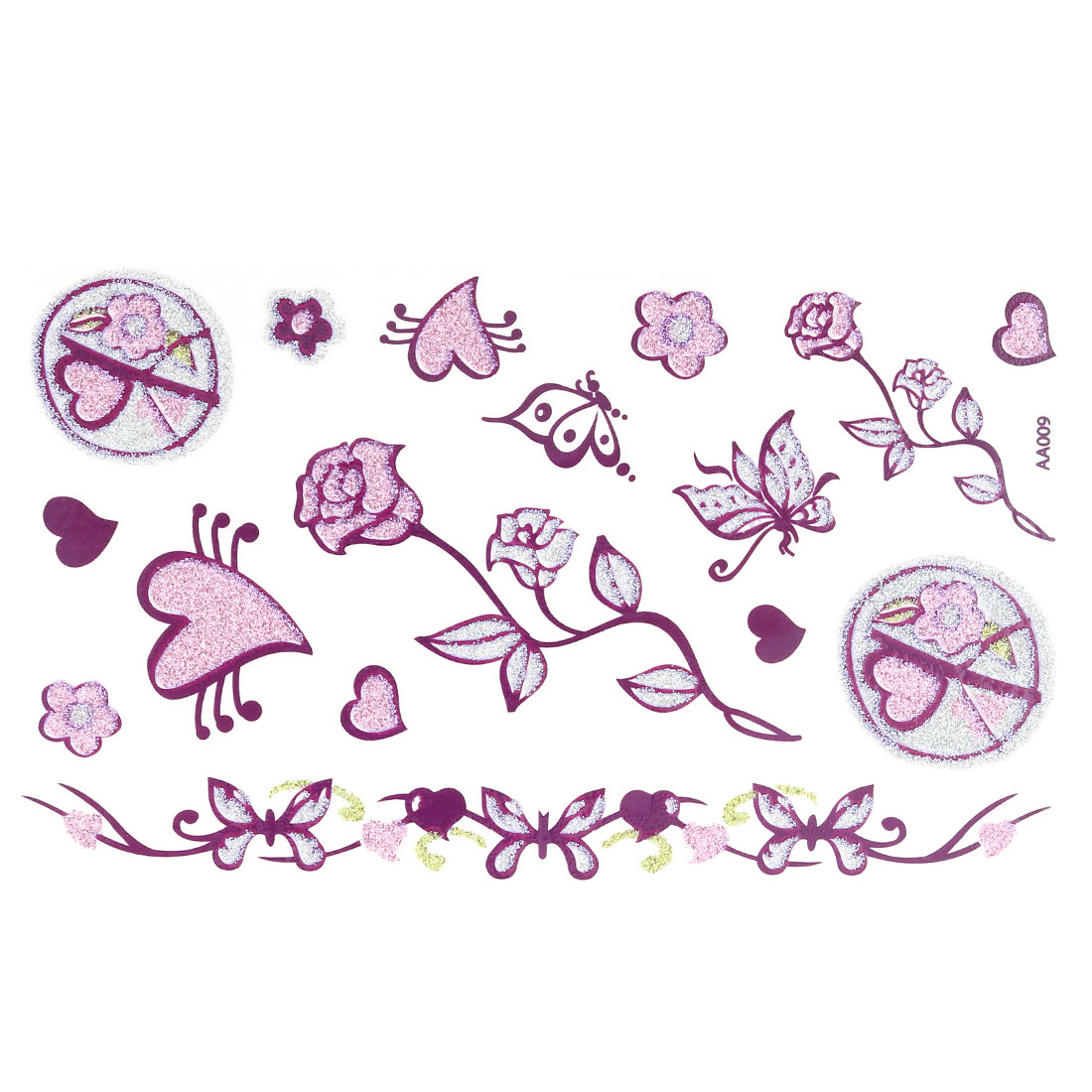 Lady Rose Butterfly Heart Pattern Removable Paper Sticker Decal Temporary Tattoo Sheet