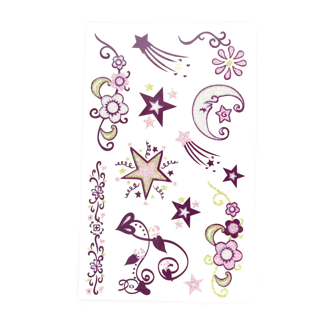 Lady Flower Moon Star Pattern Body Art Paper Sticker Decal Temporary Tattoo Sheet