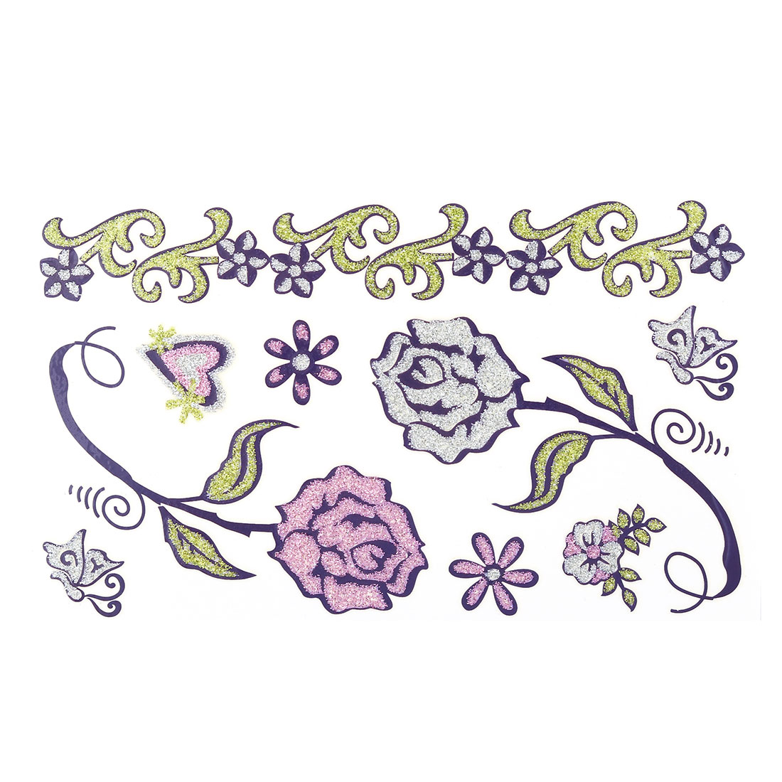 Lady Flower Pattern Removable Body Art Paper Sticker Decal Temporary Tattoo Sheet