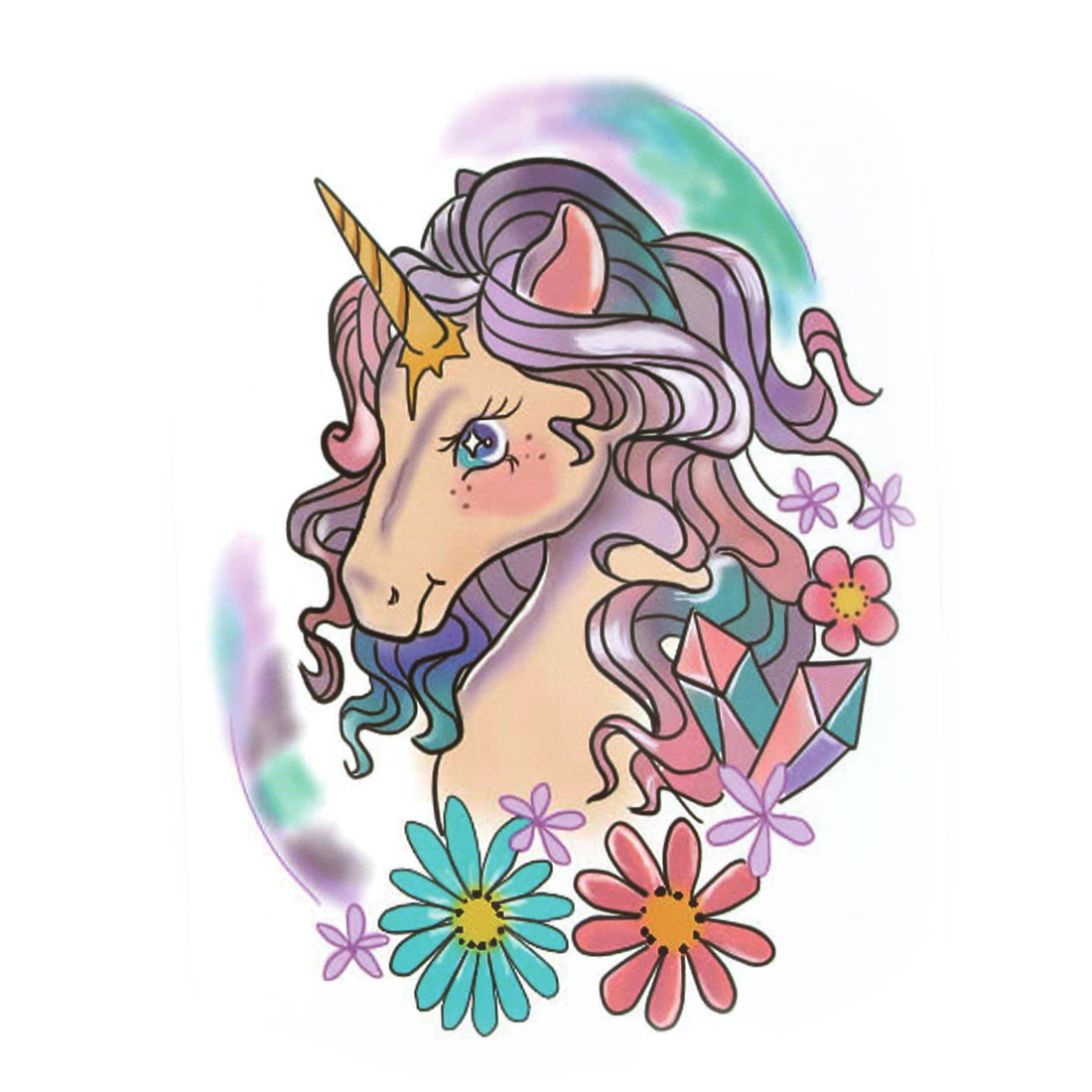 Body Art Horse Flower Pattern Removable Decoration Paper Sticker Decal Temporary Tattoo