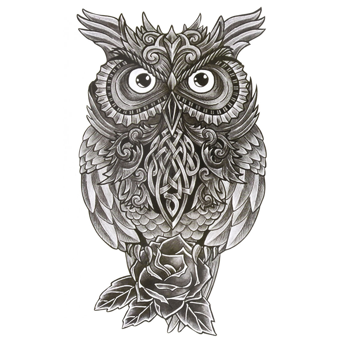 Body Arm Decor Owl Pattern Removable Paper Sticker Decal Temporary Tattoo Dark Gray