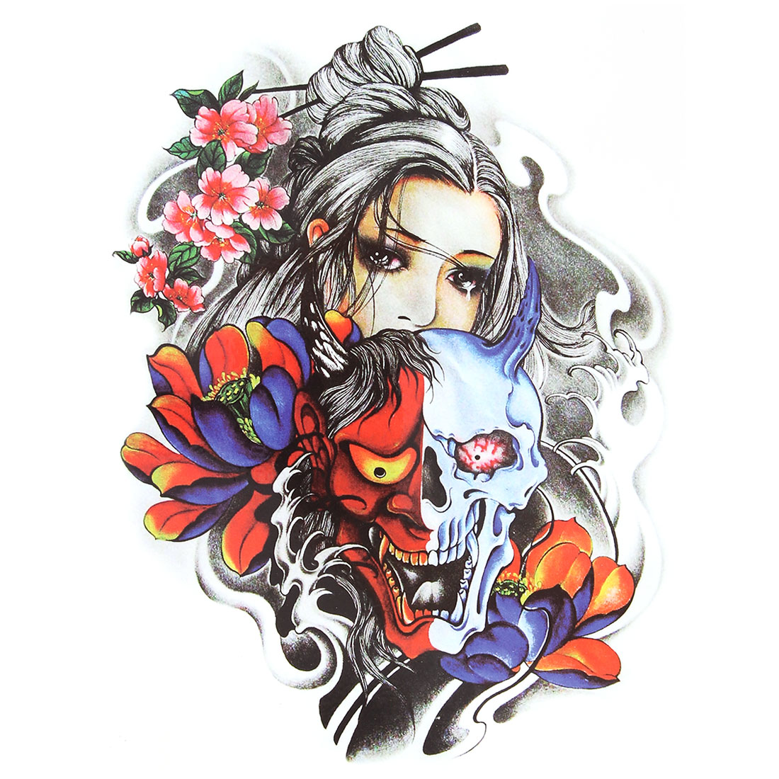 Body Art Girl Skull Flower Pattern Removable Decoration Paper Sticker Decal Temporary Tattoo