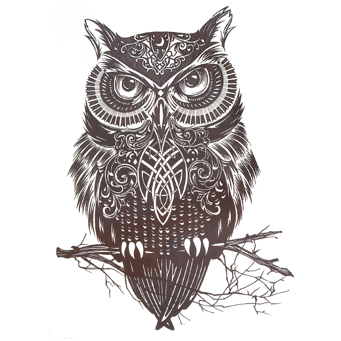 Body Art Owl Pattern Removable Water Resistance Paper Sticker Decal Temporary Tattoo Black