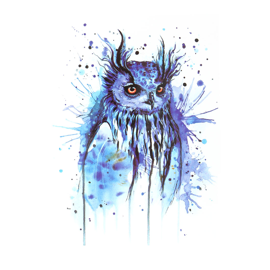 Body Art Owl Pattern Removable Water Resistance Paper Sticker Decal Temporary Tattoo Blue