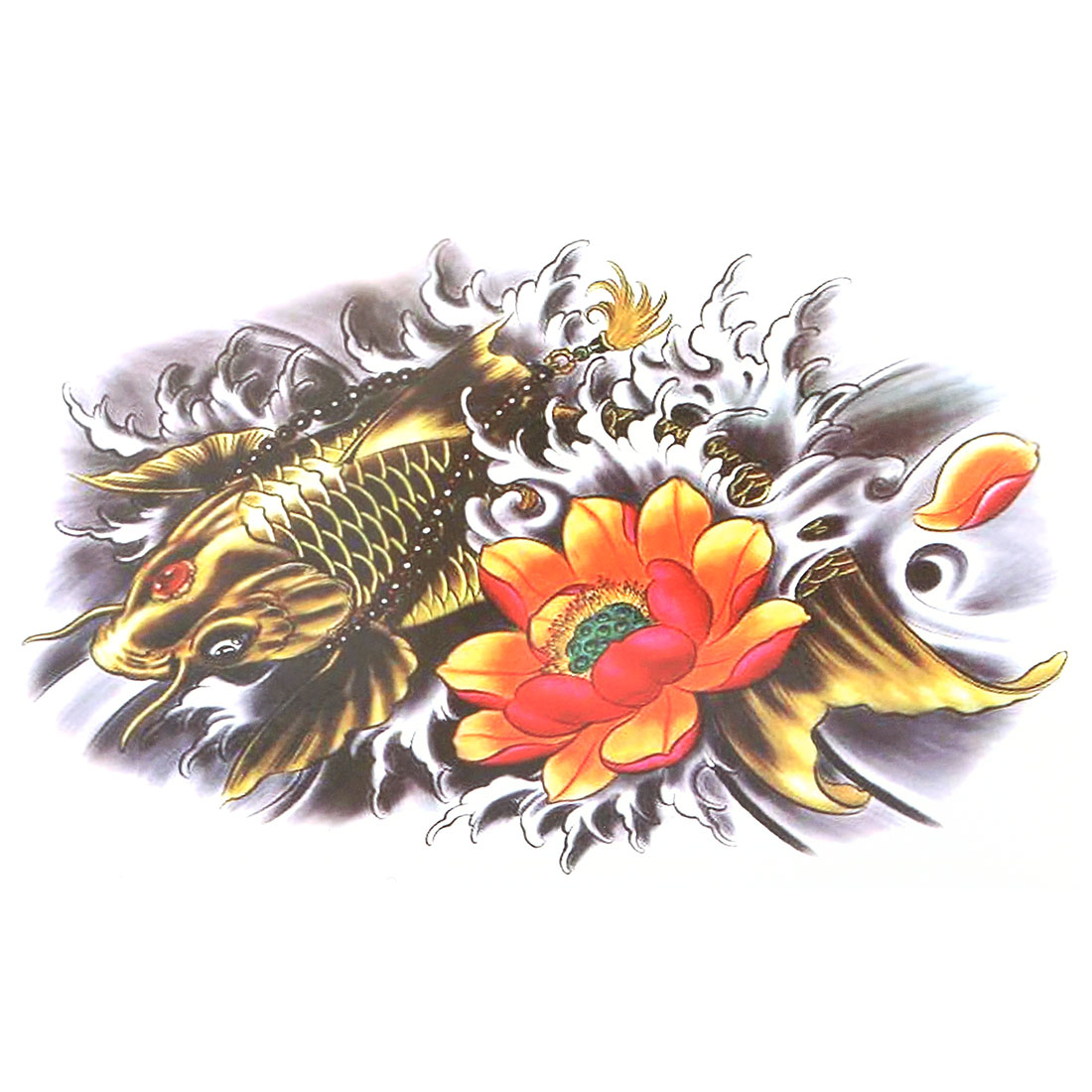 Man Fish Lotus Pattern Removable Body Arm Art Paper Sticker Decal Temporary Tattoo