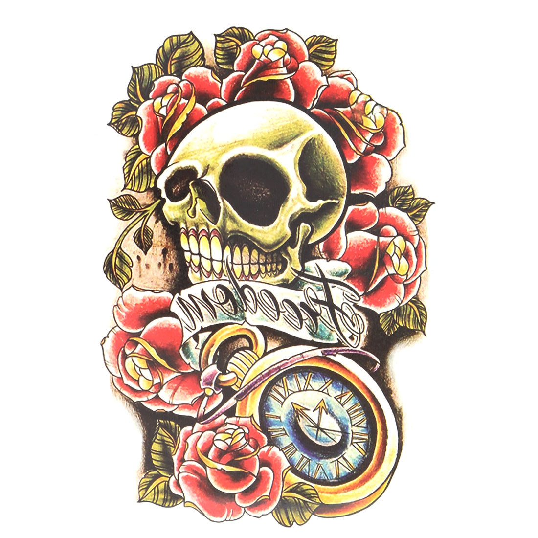 Man Skull Flower Pattern Removable Body Art Paper Sticker Decal Temporary Tattoo