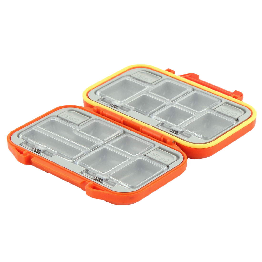 Fisherman Plastic 12 Compartments Hook Bait Storage Box Case Holder Orange
