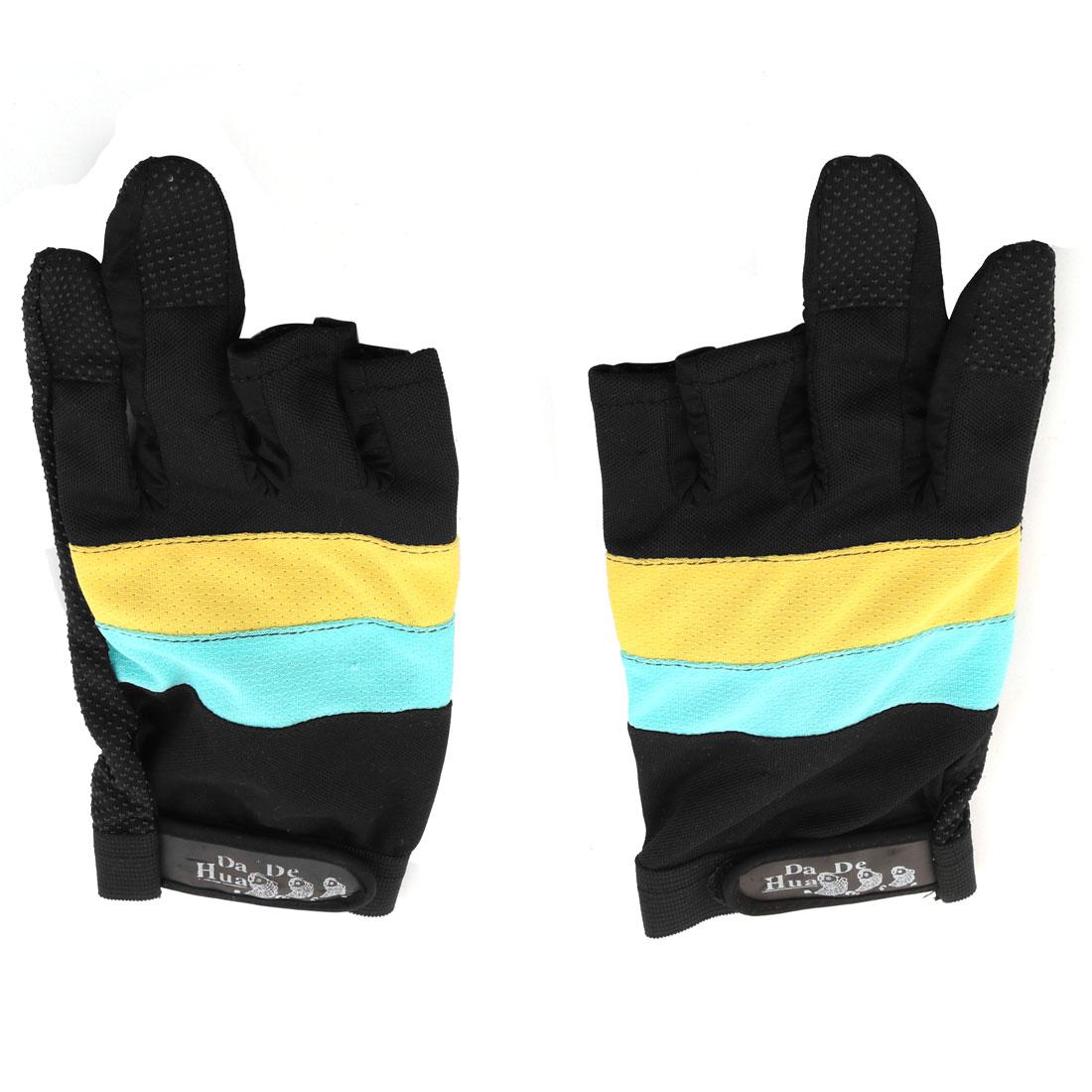 Fishing Rubber 3 Fingers Cut Elastic Wrist Band Nonslip Palm Gloves Black Pair