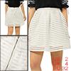 Women Hollow Out Striped High Waist Flare Skirt White XS