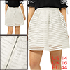 Women Hollow Out Striped High Waist Flare Skirt White L