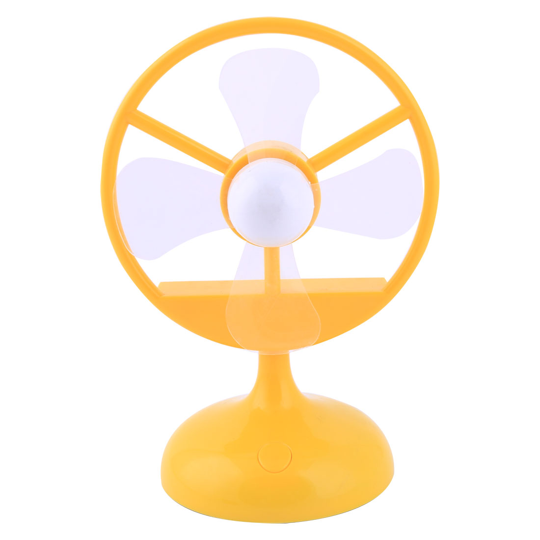 Office Table Plastic Base USB Mini Cooler Cooling Air Fan Yellow 4 Fans Round