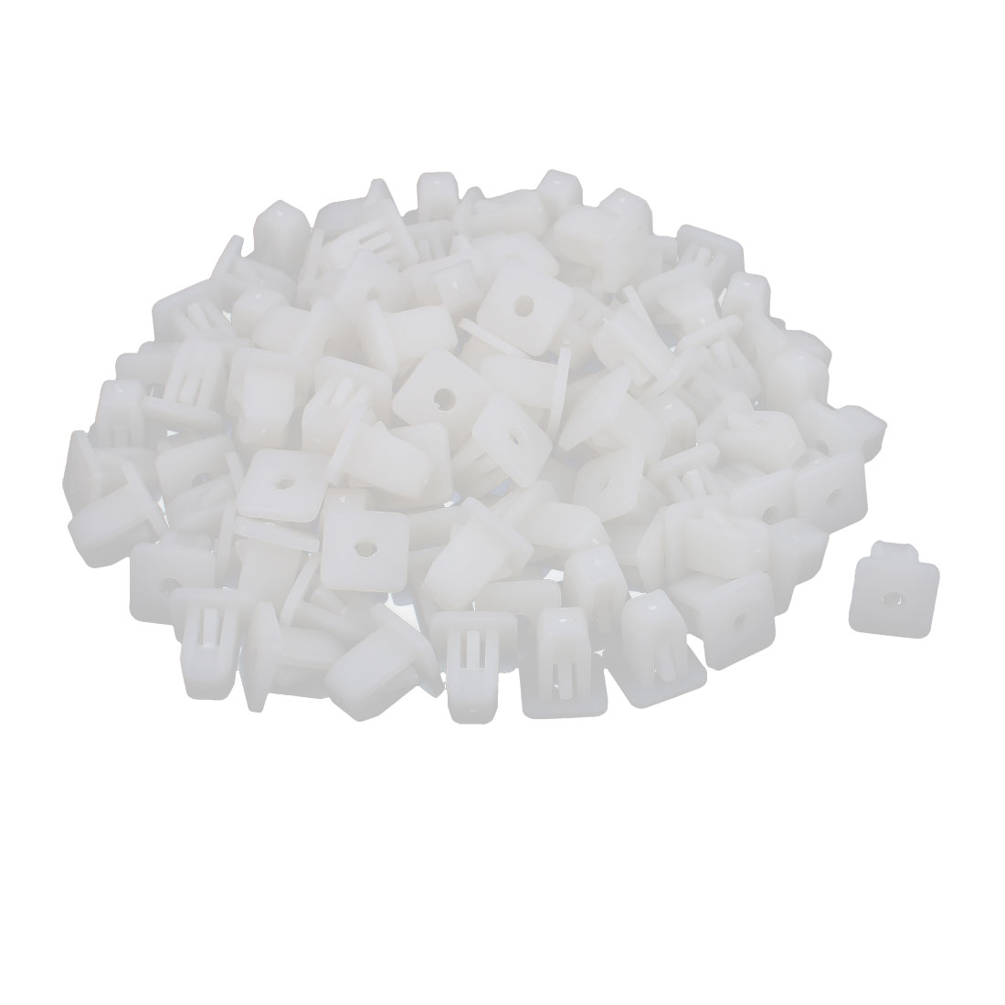 125 Pcs White Plastic Bumper Square Retainer Fastener Clips 3mm Hole Dia