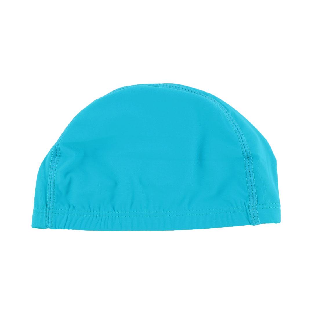 Adult Dome Shape Elasticity Swim Swimming Cap Bathing Hat Swimwear Teal Blue